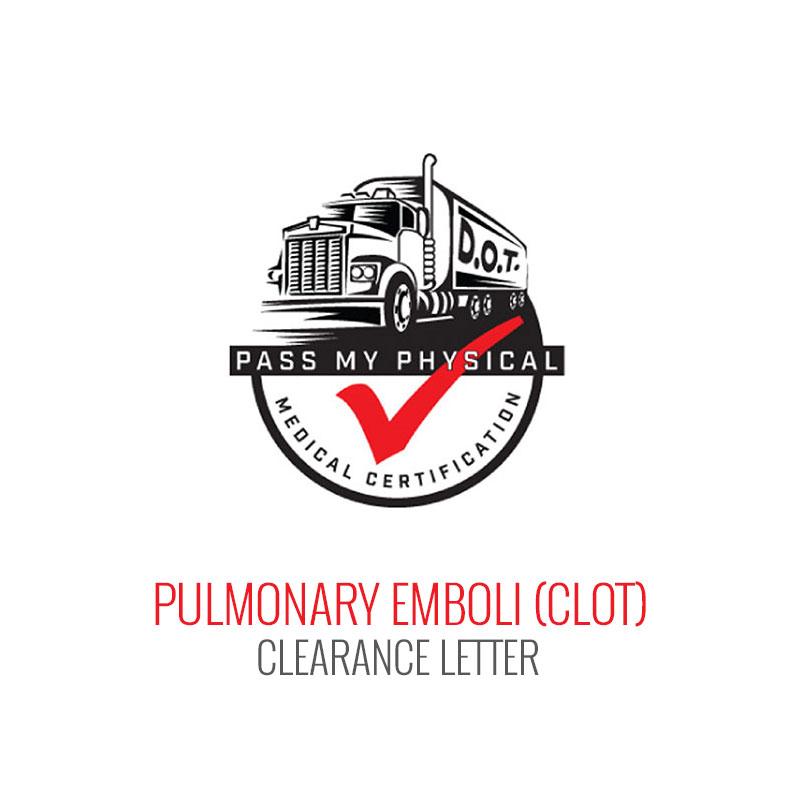 Pulmonary Emboli (Blood Clot) Medical Clearance Letter